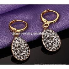Novo estilo luxuoso gota strass pingente de aço inoxidável Stud Earrings ZZE019