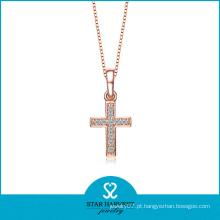 Colar de pingente de cruz banhado a ouro (sh-n0173)