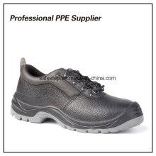 Zapatos de trabajo baratos en punta de acero de cuero genuino
