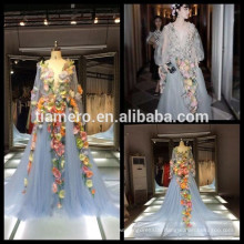 China Real picture Gorgeous Feather Three-dimensional flowers style evening dress satin beaded wedding dresses for bridal 2016