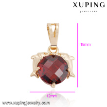 32877 Wholesale graceful women jewelry double dolphin style circle shaped gemstone pendant