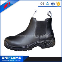 Black Leather No Lace Steel Toe Safety Work Shoes