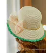 Summer Fashion Lace Bowknot Sun Protection Straw Hats China Factory
