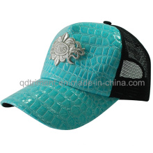 Popular Shinning Fake Leather Mesh Sport Trucker Cap (TMT1911)
