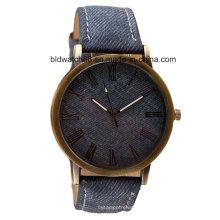 Relógio analógico antigo do presente de quartzo da promoção com faixa de couro