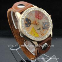 2015 heiße Verkauf einzigartige Entwurfs-echtes Leder Uhr WL-032