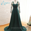 A-Line Lace Plus Size Pleat Tulle Long Sleeve Evening Dress