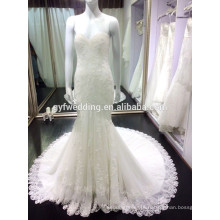 Luxurious Sexy Sweet Heart Lace Hemline White Appliqued Mermaid Open Back Beach Wedding Dress 6666-1