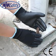 NMSAFETY 13 gants de jauge avec des gants de jardinage enduits PU noirs de la meilleure qualité