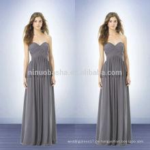 2014 Long Grey Brautjungfer Kleid mit Schatz Ausschnitt in voller Länge Criss-Cross Pleats Reißverschluss Chiffon Empire Prom Kleid NB0728