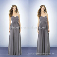 2014 Long Grey Bridesmaid Dress With Sweetheart Neckline Full-length Criss-Cross Pleats Zipper Chiffon Empire Prom Gown NB0728