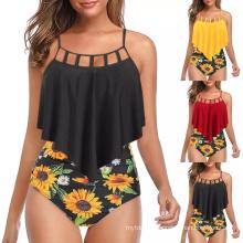 Women Bikini High Cut Swimwear Ruffled Bandeau Bikinis Set Swimsuit