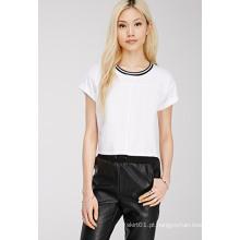 Plain Rodada Neck Mulheres T Shirt, Moda T-shirt Wholesale China