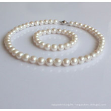 8-9mm Nearly Round Natural Pearl Jewelry Set