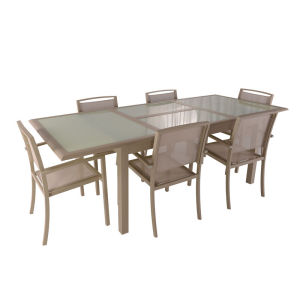 7pc aluminum extension dining set