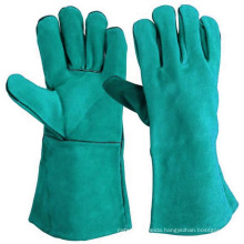 Cow Split Welding Green Leather Working Gloves