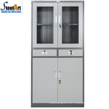 2018 heißer Verkauf Luoyang Fabrik Glas zwei Tür Büro verwendet Stahl Aktenschrank