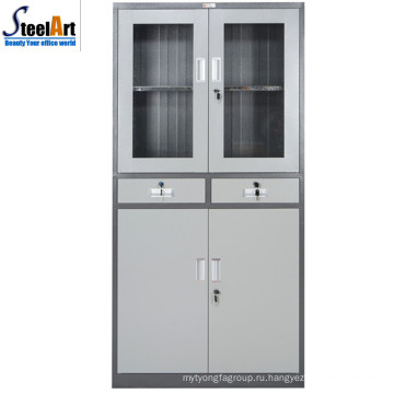 2018 горячей продажи лоян фабрика стекла две двери офис стальные шкафу