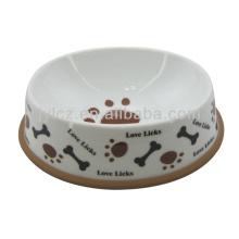Super white ceramic dog bowl