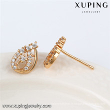 92471 Xuping fantaisie gros 18 carats plaqué or blanc pierre boucle d'oreille