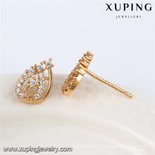 92471 Xuping fantasia atacado 18k banhado a ouro branco brinco de pedra do parafuso prisioneiro