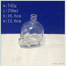 750ml Skull Glass Wine Bottles with Factory Price
