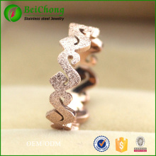 Korean fashion new women rose gold frosted s shaped titanium steel rose gold ring