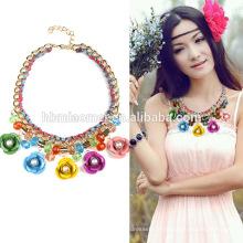2017 Eisen Blume Kristall Halskette neue Ankunft Boho große natürliche Türkis Stein Squash Blüte Anweisung Silber Halskette