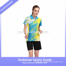 Latest hign quality badminton sports jersey designs for badminton, unisex badminton jersey for young