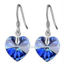 Moda en forma de corazón azul cristal pendientes para las mujeres SE-001A