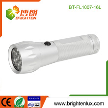 Factory Custom Made Housing 3*AAA battery Used Silver Color Bright Aluminum Metal 16 led Best Cheap Flashlight