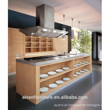 Armário de cozinha de folheado de madeira de design italiano moderno
