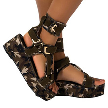 Women plus size colorful fabric wedge fashion sandals  summer sandals for girl shoes