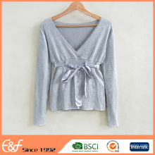 Custom Women Grey Fitted V Shape Sweater With Belt