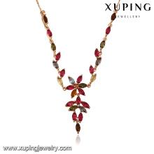 43450 vente rapide de produits en afrique du sud 18 k délicat élégant multicolore fleur type plaqué or bijoux collier