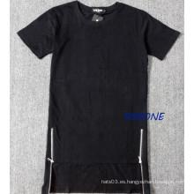 Hip Hop alarga la camiseta lateral de la cremallera Camisetas y camisetas de los hombres