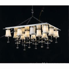 Simple Decorative White Glass Shade Crystal Ceiling Light with 12 Lamp Heads
