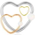 Popular Titanium Synthetic Opal Coração Forma Daith Nariz Anel Hoop Piercing