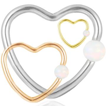 Titanium synthétique opale coeur forme Daith nez anneau Hoop Piercing