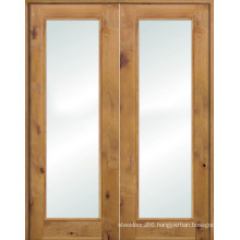 Pine Wood Glass French Extrance Wood Doors