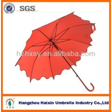 Red straight umbrella with metal frame and plastic handle 2013 fashion auto