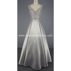 Beading Tulle Grey Prom Dresses For Women Evening