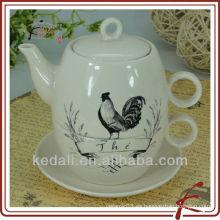 Pote de té de calcomanías para uno y pollo