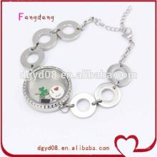 aço inoxidável charme medalhão pulseiras jóias cadeia pulseira atacado