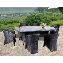 Restaurante jardín Rattan mesa de comedor silla Oval