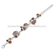 Mezcla hermosa de Schelm y piedras preciosas múltiples 925 pulsera de la plata esterlina Joyería