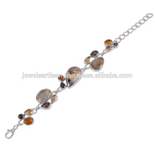 Beautiful Schelm Blend And Multi Gemstone 925 Sterling Silver Bracelet Jewelry