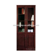 Estante ajustable del archivo / del libro de madera estante caliente de la puerta de cristal de la venta MDF + Acabamiento de papel (T8812)