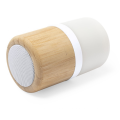 New Trendy Small Wooden Round Bamboo Led Light Lamp Wireless Blue tooth Speaker