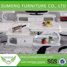 Дешевые оптовые современные домашние двойных слоев белый мраморный верхний журнальный стол